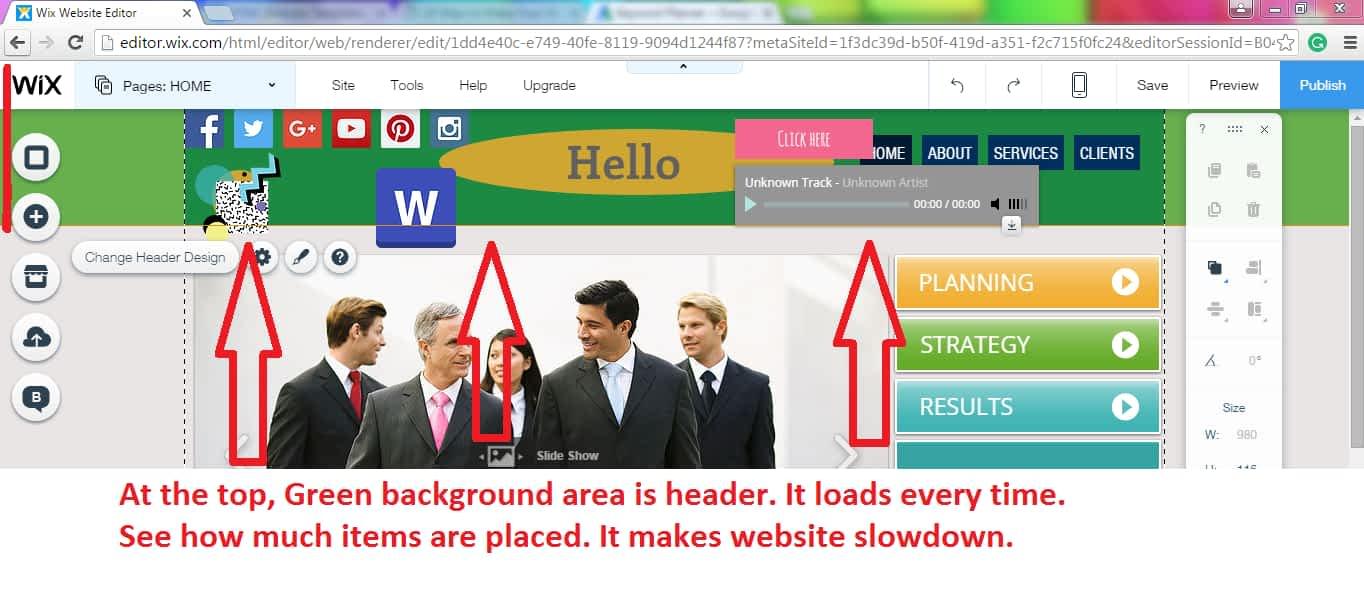 Slow loading website header example