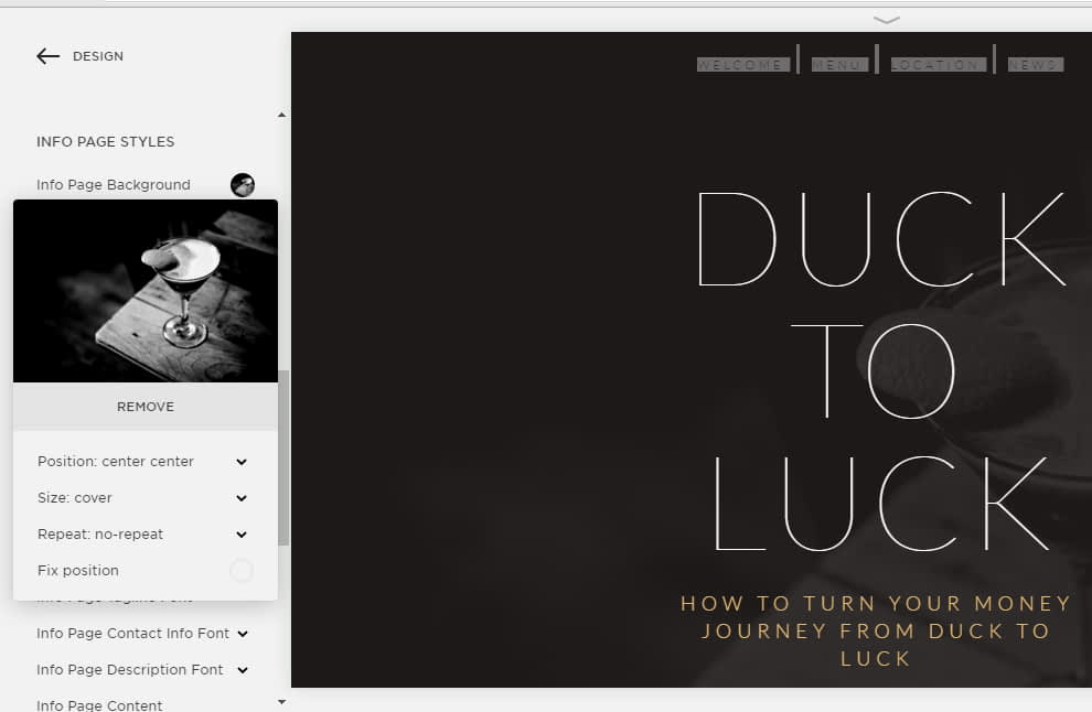 Squarespace template design info styles included amazing styling settings