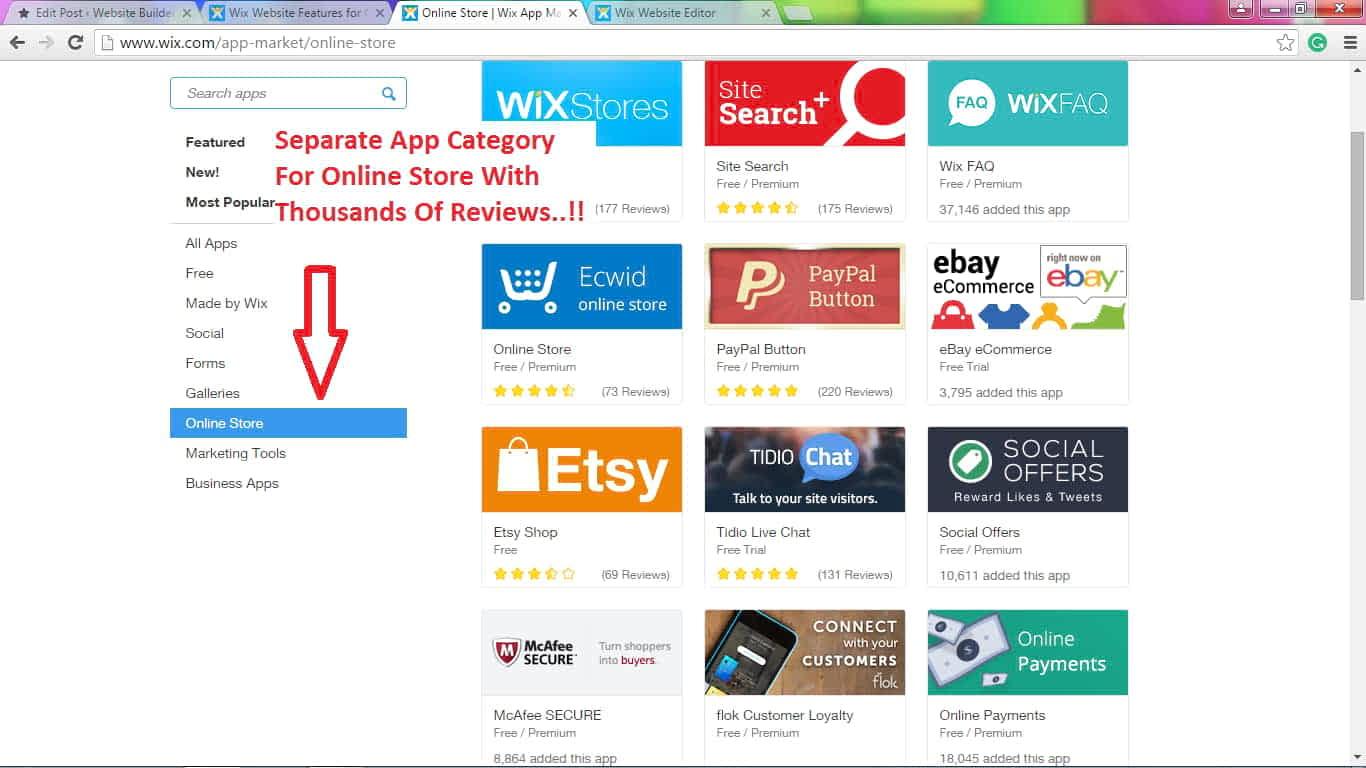 Wix eCommerce app market Review