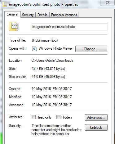 imageoptim optimized photo properties