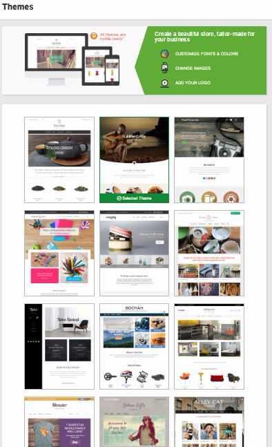 GoDaddy Online Store themes