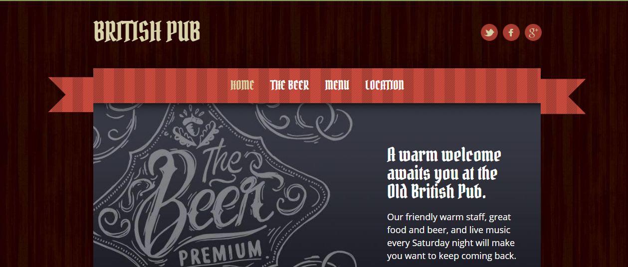 GoDaddy Theme example for pub