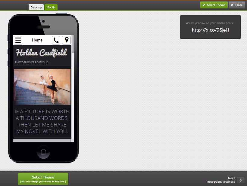 GoDaddy theme mobile view and web address