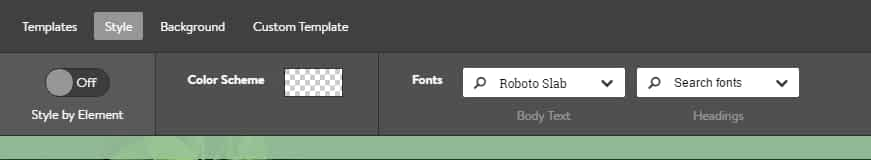 jimdo style settings. You can switch for entire site or block-wise to change its colors and fonts.