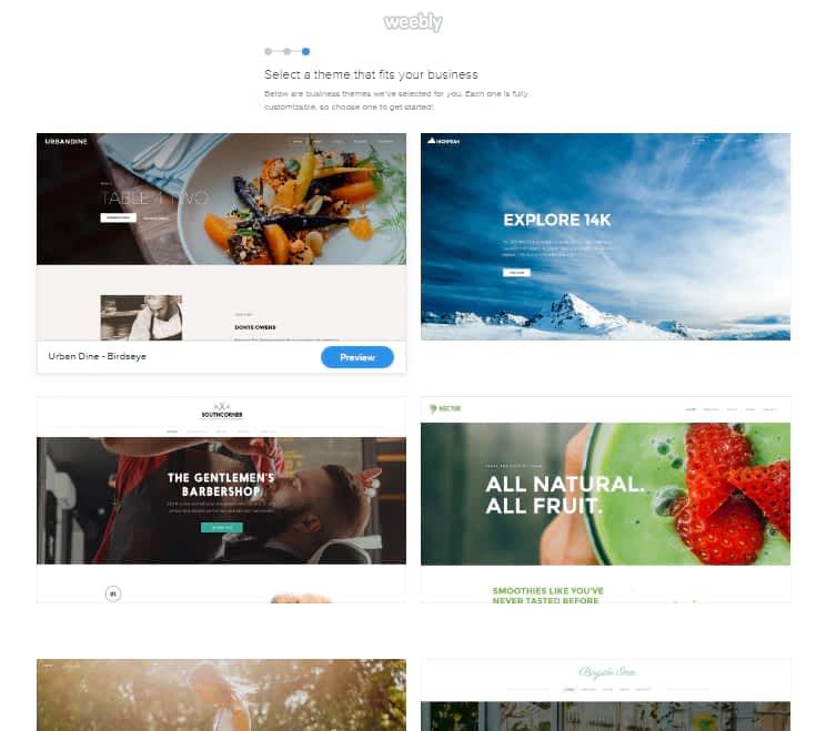 Weebly themes collection
