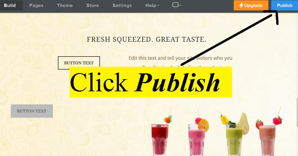 Click Publish to get your Weebly website Online.
