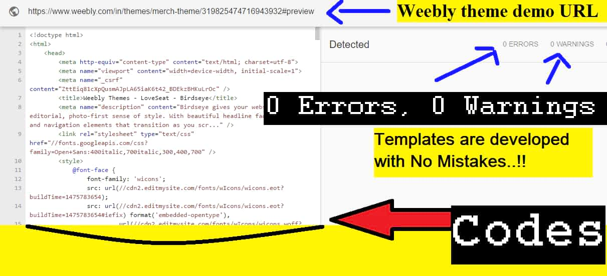 weebly themes goodness test showed no errors and no warnings. Templates structure is perfect.