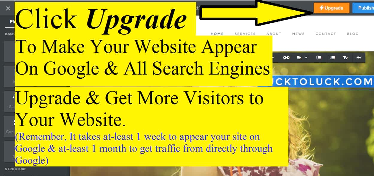 Click on upgrade button to get your website appear on all search engines.