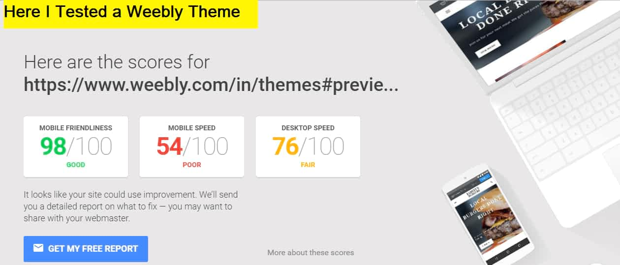 weebly website mobile friendly test results showed 98% responsiveness on all browsers and devices
