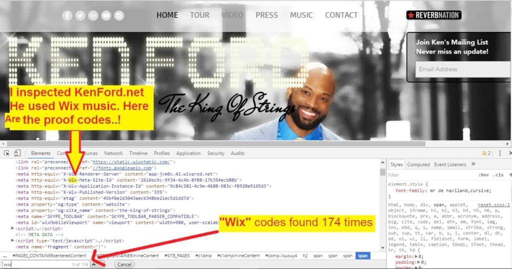 Kenford used Wix music. We inspected it. Here is the Proof codes