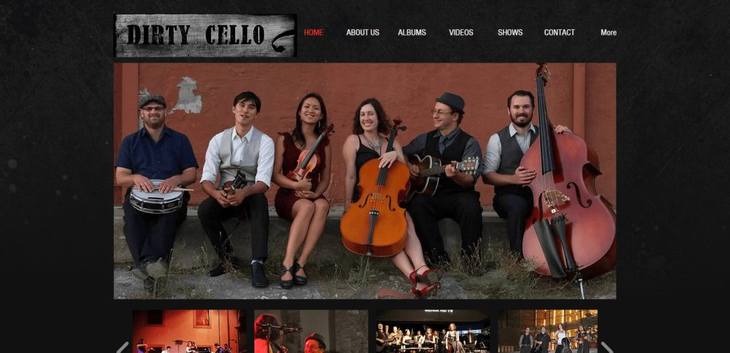 best musicians website live example Rebecca Roudman's dirty cello site with its original template