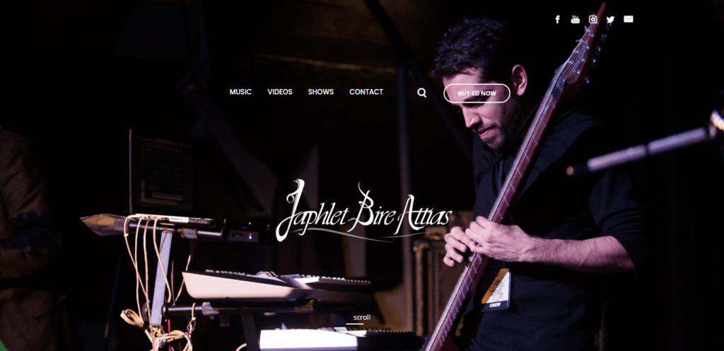 Musician japhletba website homepage