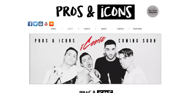 band website prosandiconsmusic homepage