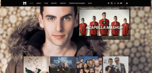 musician tompkins music website front page screenshot