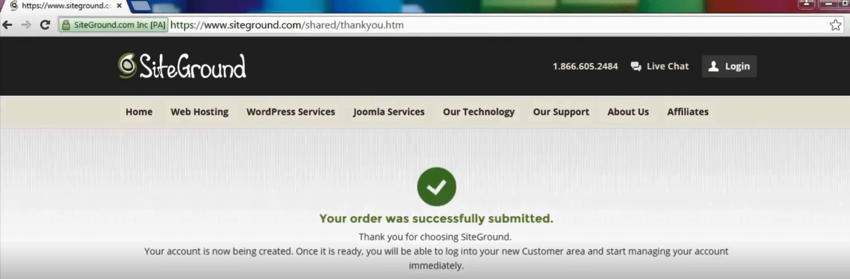 Order successfully submitted message after you paid