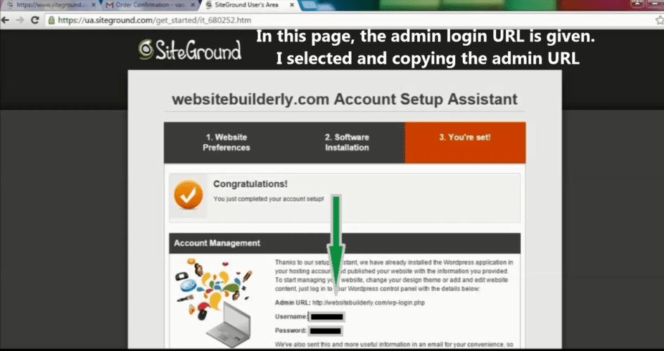 Your website admin username & password. Login using this info