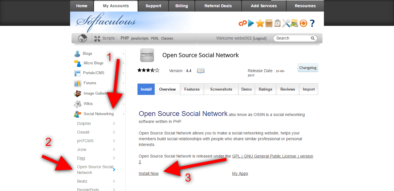 go to social networking tab, click open source social network & install it. follow arrows