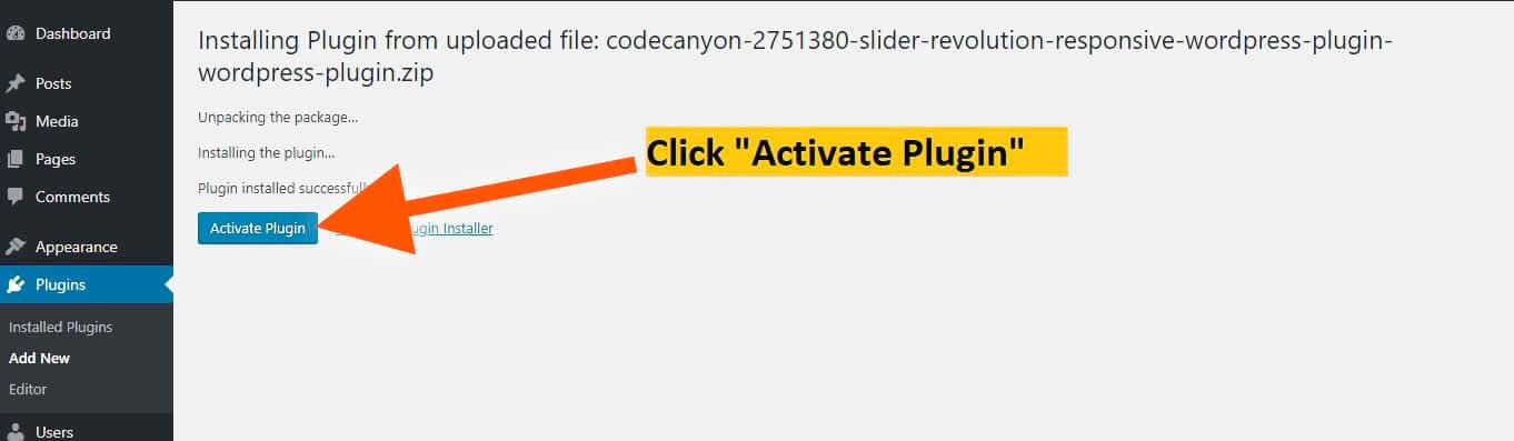 activate slider revolution plugin