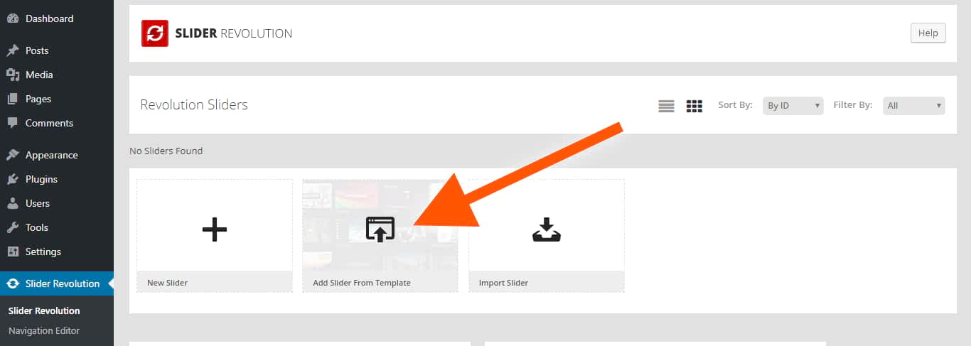 add revolution slider templates