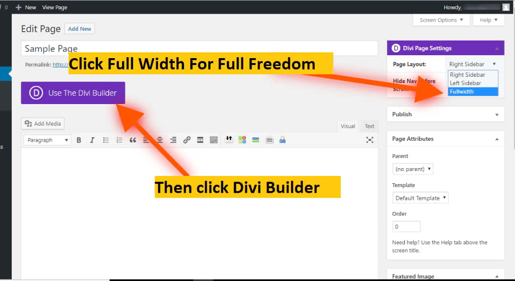 divi builder page layout setting