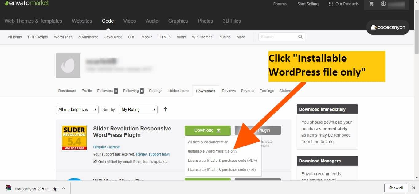 download slider revolution plugin WordPress installable file only