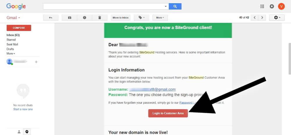 website hosting customer details on the email