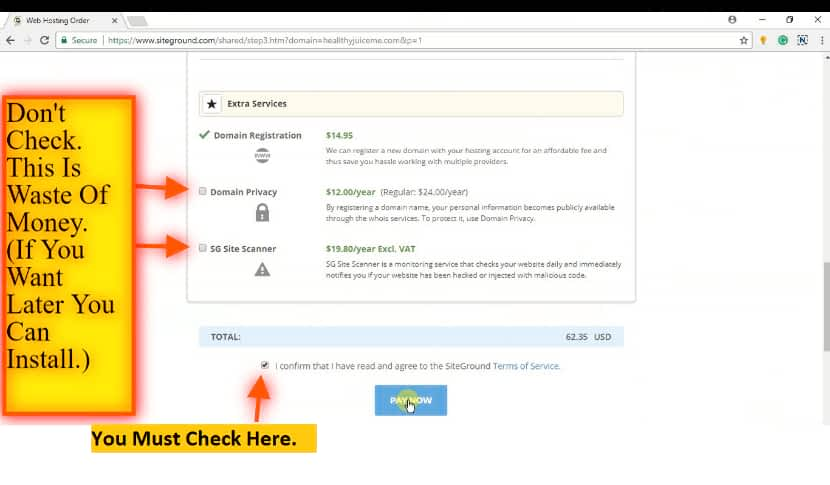 Purchase the hosting plan to build your website