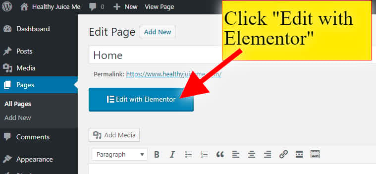 click edit with wordpress website page builder elementor to get drag and drop web editor