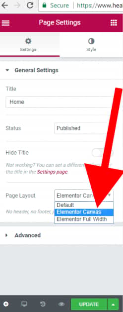 click elementor canvas to make a blank web page