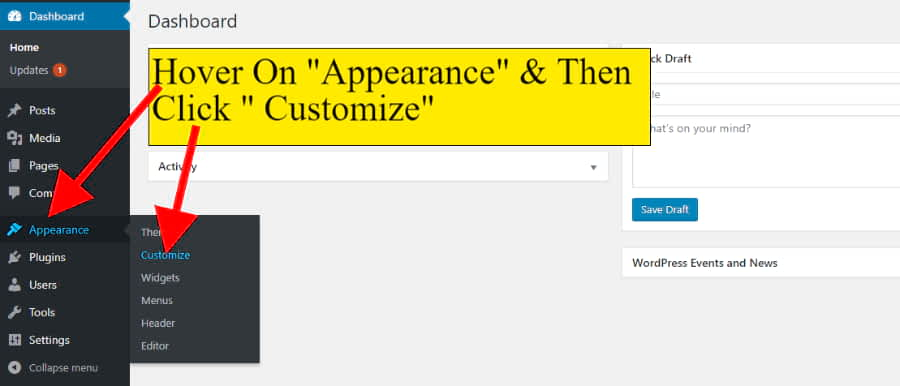 Hover on appearance & click customize to fill your website details