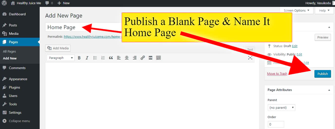 publish a blank home page
