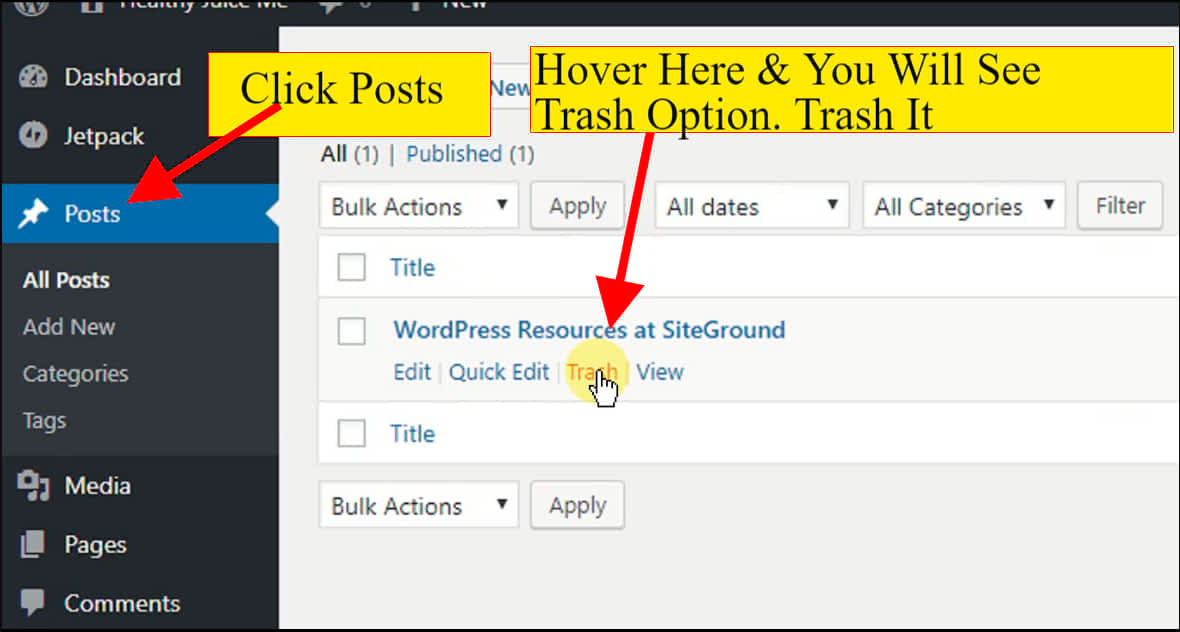 trash the default post, because it is not your blog post and unrelated to your website content