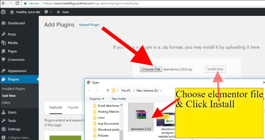 upload wordpress web site builder plugin