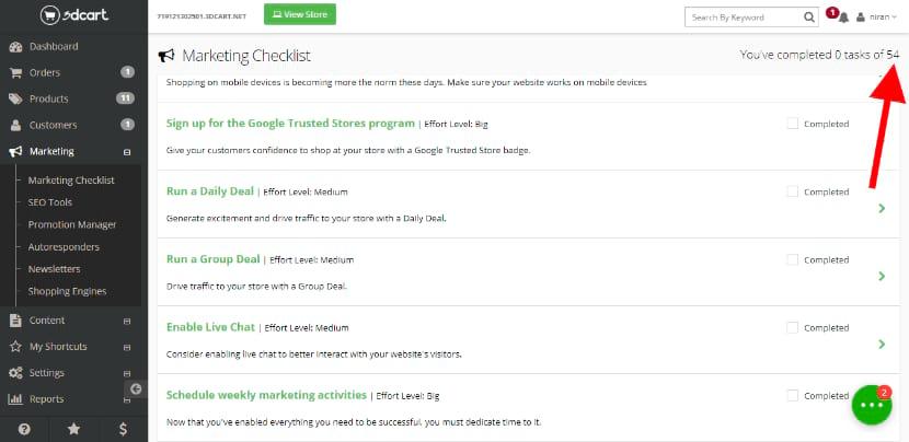 3dcart marketing checklist