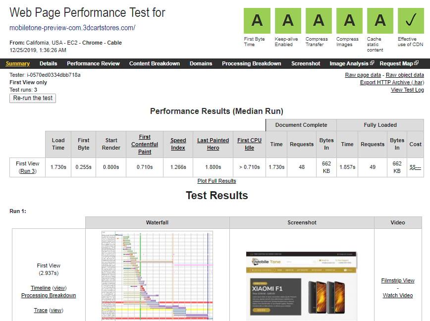 3dcart website speed test