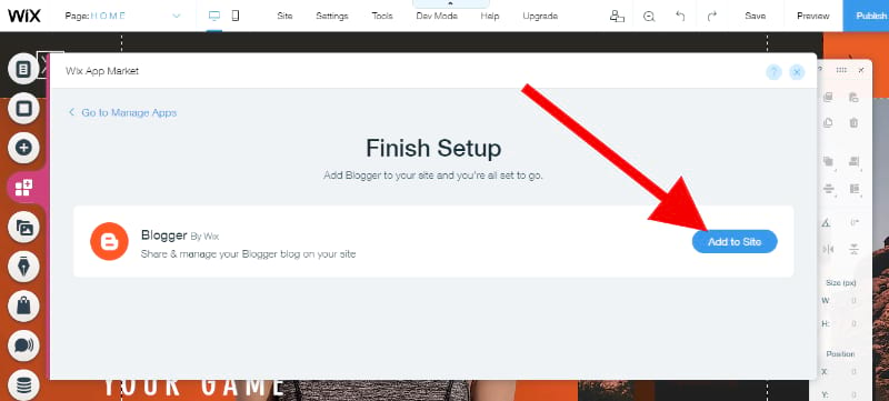 Add Blogger app to your Wix website