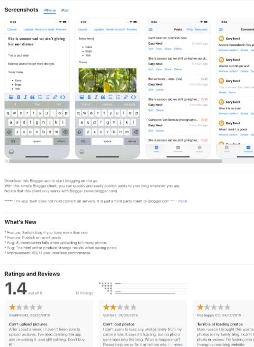 Blogger iPhone app