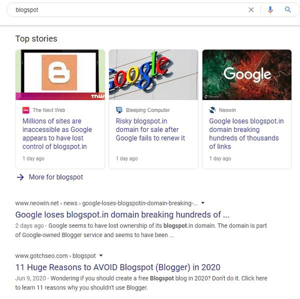Blogspot domain expired