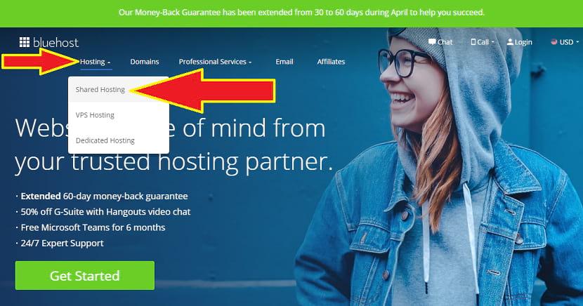 Bluhost shared hosting