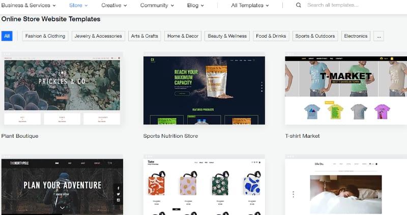 Choose an online store template