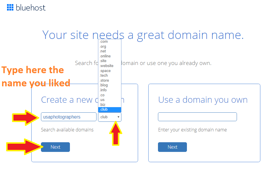 Create a domain name for your social networking website like facebook