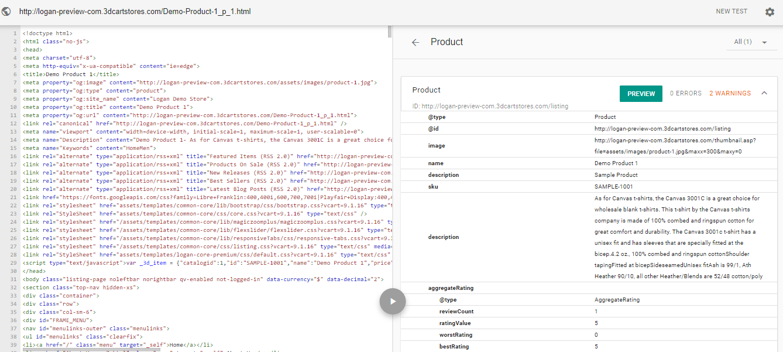 3dcart SEO Google markup data test showed zero errors and 2 warnings