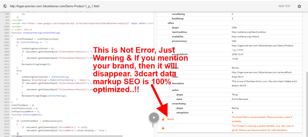 3dcart template SEO Google markup data test showed brand value is missing