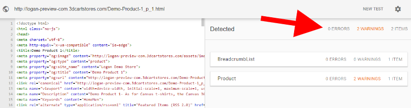 3dcart product page SEO Google structual markup data test showed zero errors and 2 warnings