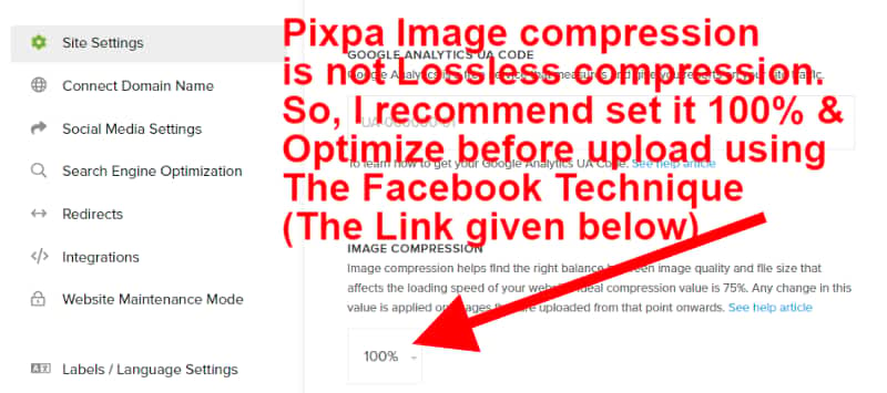 Image compression setting