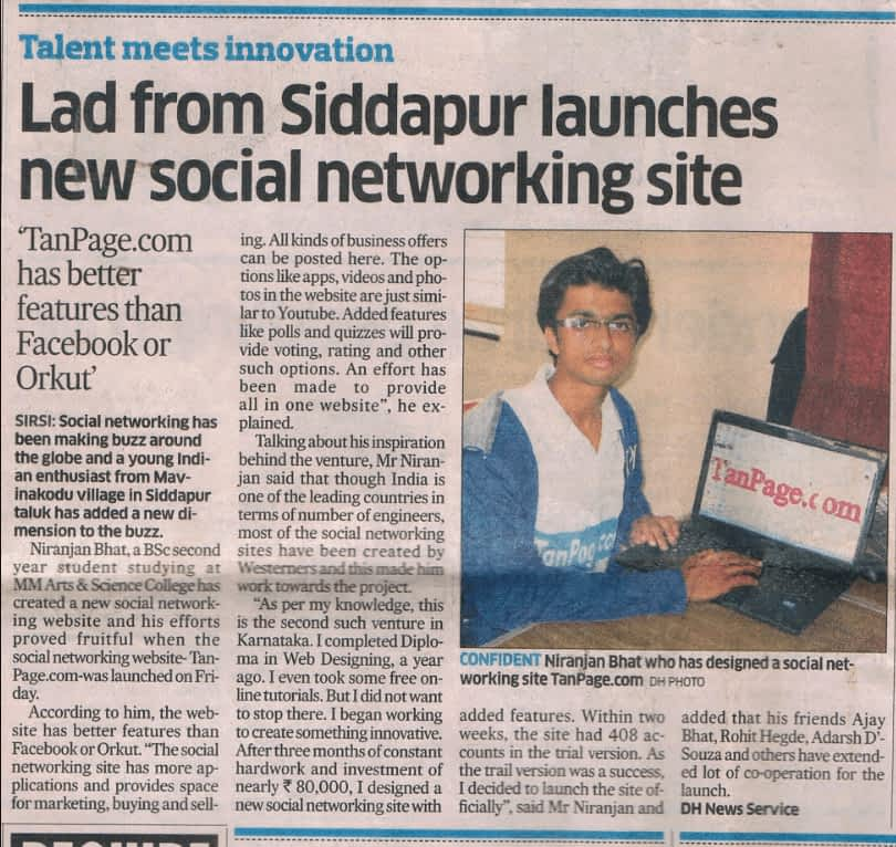 My Social Network Website Launching Program News was published In Deccan Herald