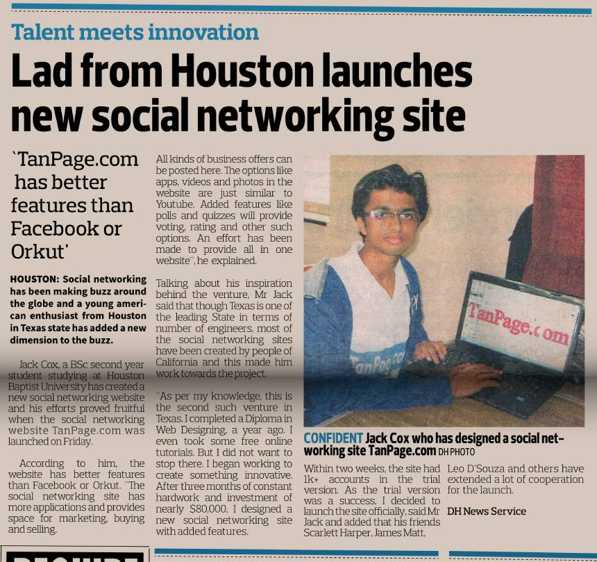 My social network website published in the newspaper Deccan Herald