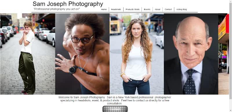 Photographer Sam Joseph website home page