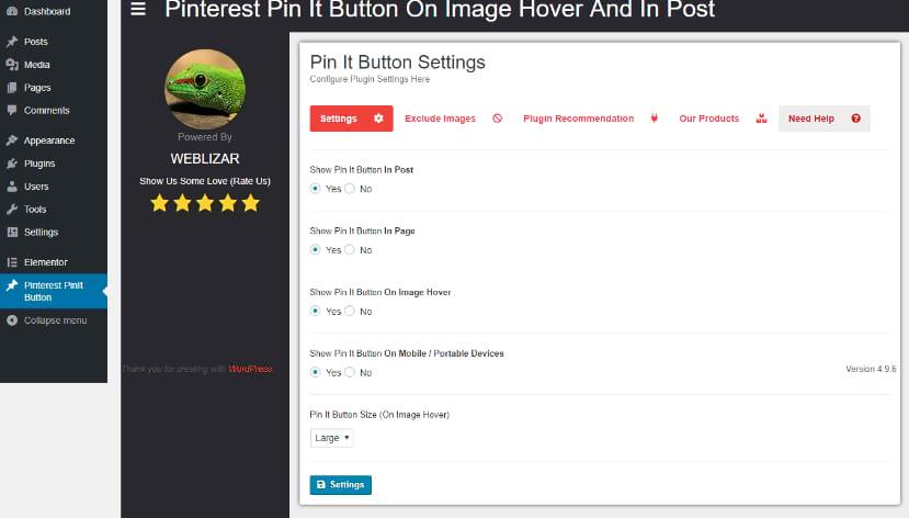 Pinterest pin image plugin settings