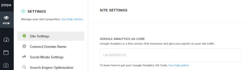 Pixpa Google analytic setting